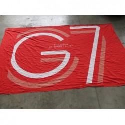 Tissu - Toile imprimé G7 Rouge (revers noir)