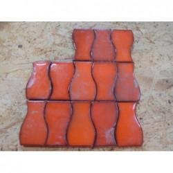 Faïence petit ondulé orange - Lot de 280 pièces